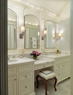 Traditional Bathroom Design, Pictures, Remodel, Decor and Ideas - page 8 mirrors - middle vanity - 4 lights? Master Bathroom Vanity, Small Bathroom, Master Bathrooms, Bathroom Mirrors, White Bathroom, Bathroom Storage, Bathroom Vanity Mirrors, Bathroom With Makeup Vanity, Gray Bathrooms