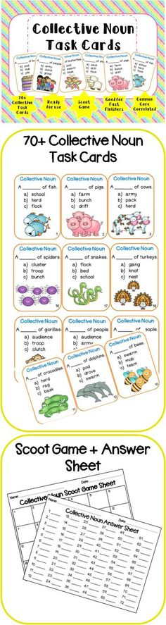 70+ Collective Noun Task Cards!  Visit my blog and facebook page for freebies, tips and new product updates: rollerenglish.blogspot.com https://www.facebook.com/rollerenglish