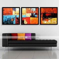 Personalized Canvas Print Abstract Color 30x30cm 40x40cm 60x60cm Framed Canvas Painting Set of 3 - GBP £ 41.88