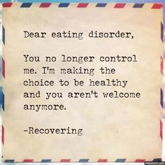 Powerful word not only for people who have struggled with eating disorders but other similar issues as well