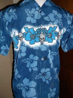 Xtreme Limit Boys' Blue Skull Shirt Collar 5 Button,Short Sleeve Sz 8 Polyester #XtremeLimit #Everyday