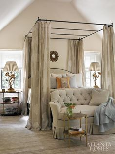 Bedroom Ideas - Scott would never go for the drapes on the bed but this is gorgeous.
