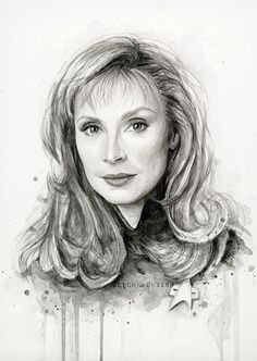 Star Trek Art  Beverly Crusher Watercolor by OlechkaDesign on Etsy