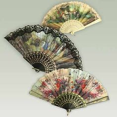 Trimmed fans with a translation of 19 secret meanings of Victorian fan gestures.