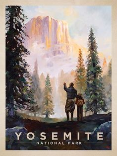 Yosemite National Park: Yosemite Valley - Anderson Design Group has created an award-winning series of classic travel posters that celebrates the history and charm of America's greatest cities and national parks. Founder Joel Anderson directs a team of talented artists to keep the collection growing. This oil painting by Kai Carpenter celebrates the majestic beauty of Yosemite National Park.