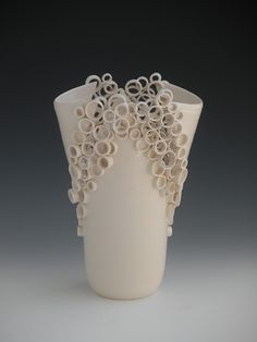 "Katherine Dube | 'RingsReliquum'  2008. White Earthenware. 14 x 9 x 6"". Constructed in Porcelain."