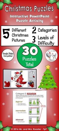 Puzzles for all ages! Students need to learn how to use fine-motor skills and manipulate the mouse to meet required standards. These Christmas Puzzles will have your students in PK-5th grade learning and mastering this specific skill while having fun along the way! Google Classroom and Google Slides Compatible! Interactive PowerPoint Puzzles for PK, K, 1st, 2nd, 3rd, 4th, and 5th! Perfect for computer and mouse precision!