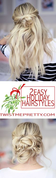 2 easy holiday hairstyles - Twist Me Pretty : 2 easy holiday hairstyles! Great day to night styles and perfect for any of your holiday parties. Click over to watch the video tutorial! Holiday Hairstyles, Party Hairstyles, Twist Hairstyles, Trendy Hairstyles, Hairstyle Ideas, Short Hair Styles Easy, Curly Hair Styles, Hair Romance, Hair Dos