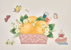 Pears (artwork for emart) Fruit Of The Spirit, Korean Art, Watercolor Background, Pear, Oriental, Doodles, Butterfly, Asian, Gallery