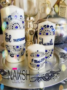 Henna candles silver blue