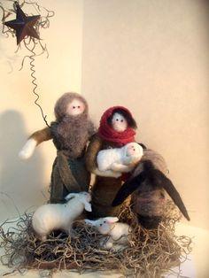 a needle felted nativity set