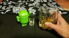 Liz and Droid having a drink on a  Friday night.