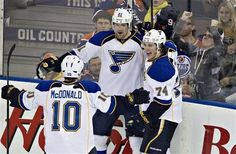 Andy McDonald, Patrik Berglund and T.J. Oshie celebrate a goal against the Edmonton Oilers during the third period.  Blues shutout the Oilers 3-0.  3-23-13