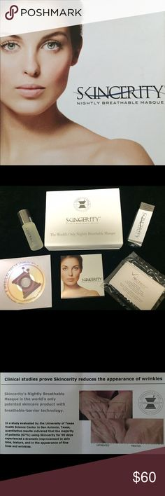 Skincerity Nightly Breathable Masque -Anti-aging Pharmaceutical grade masque originally developed for burn patients to help skin heal faster. This flash drying mask retains moisture, delivers antioxidants, and amplifies your other skincare products, to keep them in contact with your skin for hours while sleeping.  The Skincerity kit includes, 2oz roll on masque, video, face cloth, and literature.  All skin types acne to mature- check out the site if you are unfamiliar.  I use the product…