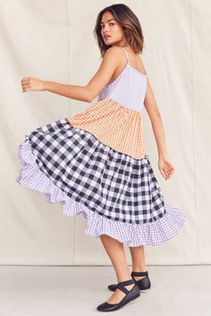 Slide View: 1: Urban Renewal Recycled Pieced Gingham Midi Dress