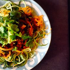 Umeboshi zucchini noodles with Mexican adzuki beans and avocado. The bomb!