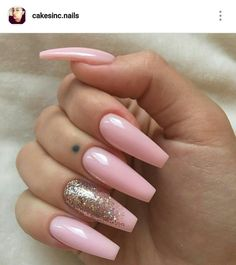 Acrylic nails. Ballerina Nails. Baby Pink nails. Pink and gold nails.
