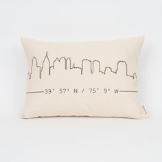 $38 | Personalized city skyline pillow with custom coordinates!
