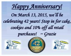 This Friday the 13th, we will be celebrating our 42nd Anniversary! Stop in for for cake, cookies & 10% off at our retail store! #42Years #Anniversary #Fridaythe13th