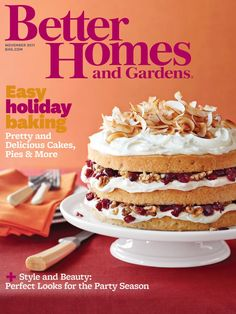 Our November cover featured the delicious Toasted Coconut Cake with Walnuts and Cranberries.