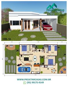 Single storey house design, ideal for building in lots above m. Dream House Plans, Modern House Plans, Small House Plans, House Floor Plans, House Construction Plan, Cozy Reading Corners, Bungalow House Design, House Layouts, Simple House
