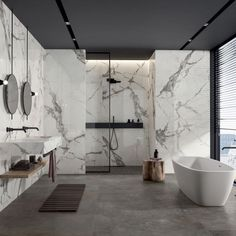 SUPREME EVO is the large-format marble-effect porcelain stoneware collection that gives a new interpretation of marble surfaces Washroom Design, Bathroom Design Luxury, Modern Bathroom Design, Large Bathroom Interior, Dream Bathrooms, Beautiful Bathrooms, Modern Marble Bathroom, Porcelain Marble Bathroom, Toilet Room Decor
