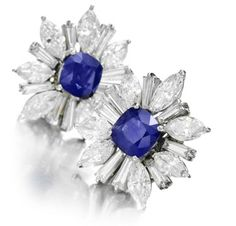 Rare & Vintage | A Pair of Burmese Sapphire and Diamond Ear Clips, by Harry Winston
