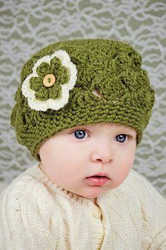 Baby Girl Newborn  69 Months Sizes  crochet Shell by slouchiehats, $14.00