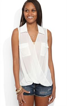 Chiffon Tank Top with Twist Front and Pleated Back