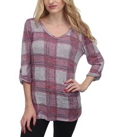 Red & Gray Plaid Top 23.99