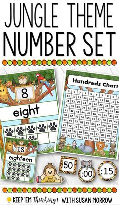 Have fun teaching numbers, ordinal position and time with this Jungle Safari Theme Number Posters and Charts. This product includes: • Number posters for 0-20 which include the numeral, word, and ten frames. These charts are available in two sizes - full page and half page. • 100's chart in two sizes - full page and a two page size. • Round and square number