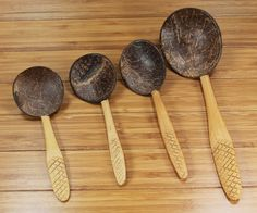 Set of 4 LADLE SPOON SPATULA COOKING UTENSIL COCONUT SHELL WOODEN Kitchen Tools #Unbranded