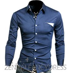 Mens Fashion Casual Long-sleeved Patched Fitted Button-down Designer Dress Shirt Dark Blue