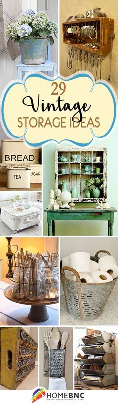 Vintage storage ideas for organizing your home. It's often hard to find pieces that are both beautiful and functional, especially on a budget. Instead, look to vintage pieces to add that lived-in character along with clutter-controlling storage space.