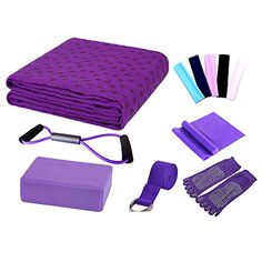 LayOPO Yoga Starter Kit  7 Piece Essentials Beginners Bundle Include Yoga TowelYoga BlocksYoga StrapStretch BandYoga SockYoga Head BandSpring CablePurple *** Find out more about the great product at the image link. (This is an affiliate link)