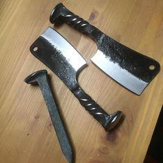 Railroad spike cleavers #knife #knives #cleaver #butcher #cook #hunt #meat #badass #railroad #railoadspikeknife #edc #blade