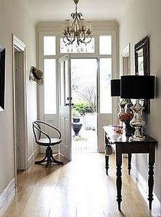 Front Hallway - table on the opposite wall that owners had a table. Decor, House, Interior, Home, Entry Foyer, Interior Architecture, Entry Hall, Interior Design San Francisco, House Styles