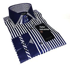 Brand New Mens Formal, Italian Luxury Blue Stripes Double Collar Slim Fit Shirt
