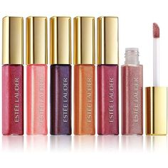 Estee Lauder Six-Piece Shine On: Pure Color Gloss Collection (£21) ❤ liked on Polyvore featuring beauty products, makeup, lip makeup, lip gloss, one color, lip gloss makeup, shiny lip gloss, estee lauder lip gloss and lip shine