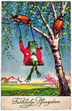 Hurry Summer, vintage German postcard