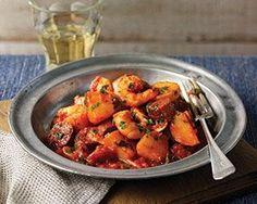 Prawns, chorizo and new potatoes in a tomato sauce for Spanish-inspired flavours
