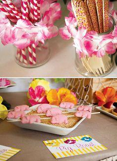 Bright & Cheerful Island Style Luau Party // Hostess with the Mostess® Moana Birthday Party, Hawaiian Birthday, Moana Party, 50th Birthday Party, Tiki Party, Luau Party, Surfer Party, Luau Theme, Heart Party