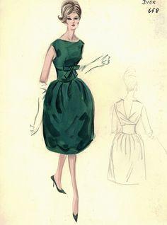 Dior sketch for Bergdorf Goodman, Emerald green Cocktail dress