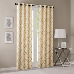 Madison Park Saratoga Panel Fretwork Print Window Curtain in Beige/Gold - Olliix a casual and stylish update, our Madison Park Saratoga Fret Print Window Curtain is the perfect addition to any decor. This window panel features a trendy me Printed Curtains, Grommet Curtains, Drapes Curtains, Valance, Light Blocking Curtains, Linens And More, Thing 1, Decor Pillows, Room Essentials