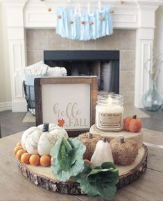 Fall Decor wood cutting one tier tray by Table for 5 Please. This sweet layer of wood holds some beautiful pumpkins in different textures, cabboge and surrounded by some orange beads,. Tiers are created with other layers of wood to hold a candle and a He Thanksgiving Decorations, Seasonal Decor, Table Decorations, Holiday Decor, Thanksgiving Ideas, Fall Home Decor, Autumn Home, Diy Home Decor, Boho Home
