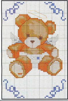 Schema punto croce angioletti piccoli cross stitch for Schema punto croce orsetto