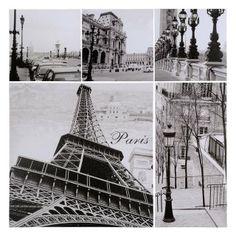 Set di 5 tele foto Parigi modello piccolo