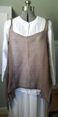 Handknit Linen Cocoa Tunic - Asymmetric Art to Wear.  via Etsy.
