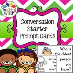 Conversation Prompt Task Cards Social SkillsThis resource includes 104 different prompt cards.The prompt cards come in b/w and col. option as well as with UK and US spelling options.Child friendly, eye catching and fun clipart to keep students engaged.These are fantastic for prompting students to start conversations with each other, especially for morning work, social skills groups etc.Click below to find: Autism Classroom Bundle $2.99 and under cart fillers.