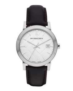 N46FK Burberry Sunray White Dial Check Watch with Leather Strap